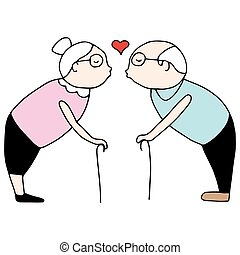 całowanie, starsza para