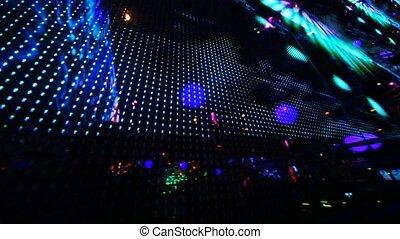 cały, poprowadzony, obraz, ściana, ekran, nightclub, wielki...