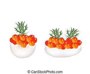 ca , κόκκινο , αυγό , παραγεμιστός , ορεκτικός