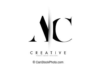 ca, c, carta, creativo, vetical, sombra, corte, design., logotipo
