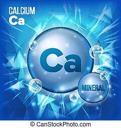 ca, calcium, vector., minéral, bleu, pilule, icon., vitamine, capsule, pilule, icon., substance, pour, beauté, cosmétique, lande, promo, annonces, design., 3d, minéral, complexe, à, chimique, formula., illustration