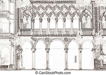 Ca d Oro Venice Italy - graphic of the palazzo Ca d Oro in...