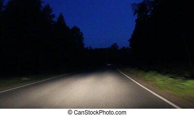 ca, mozgató, út, aszfalt, éjszaka