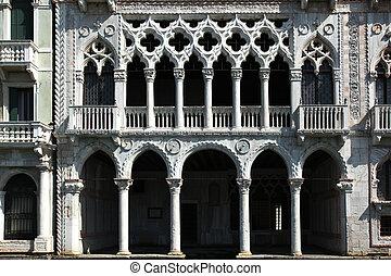 Ca Oro Venice - the facade of the Golden Palace in Venice,...