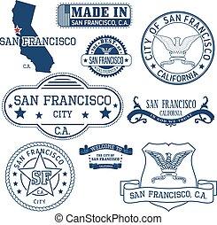 ca, san, señales, genérico, francisco, sellos, ciudad