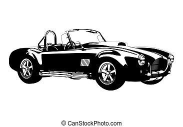 ca, silueta, coche, cobra, ?lassic, deporte, roadster