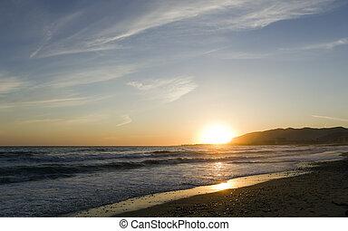 ca, ventura, spiaggia, tramonto