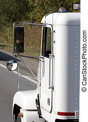 cab truck in detail - white cab of a truck, usa