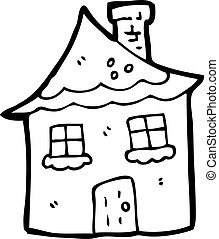 cabaña, caricatura, nevoso