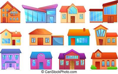 cabaña, conjunto, estilo, caricatura, iconos