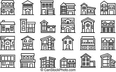 cabaña, conjunto, estilo, contorno, iconos