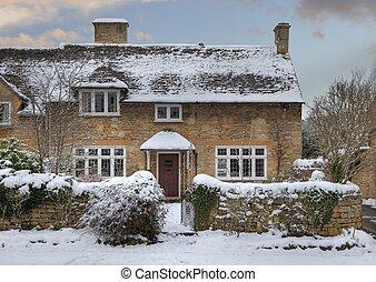 cabaña, cotswold, nieve