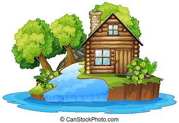 cabaña, de madera, luego, río