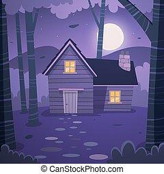 cabaña, en, bosque
