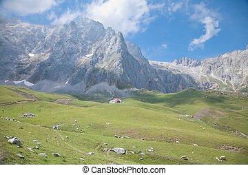 cabaña, en, cantabrian, montañas