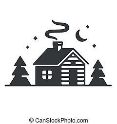 cabaña, icono, bosque