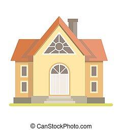 cabaña, lindo, casa de ladrillo