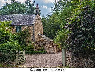 cabaña, país, piedra, inglés