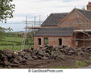 cabaña, país, viejo, renovación, debajo