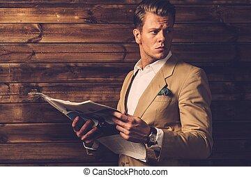 cabaña, periódico, rural, elegante, hombre, interior
