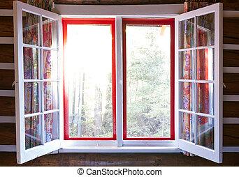 cabaña, ventana, abierto