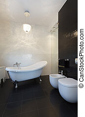 cabaña, vibrante, cuarto de baño, -, clásico