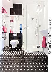 cabaña, vibrante, cuarto de baño, interior, -