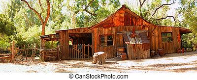 cabaña, viejo, occidental