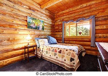 cabañade troncos, rústico, dormitorio, con, azul, curtains.
