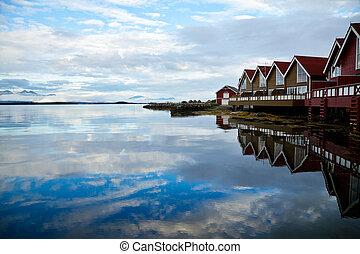 cabañas, campamento, fiordo