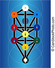 Cabala Jewish Symbols On Blue Background - Wierd arcane...