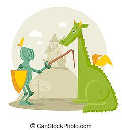 caballero, caricatura, dragón