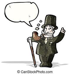 caballero, caricatura, rico