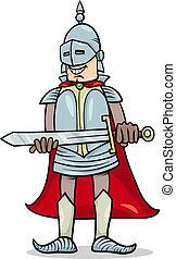 caballero, con, espada, caricatura, ilustración