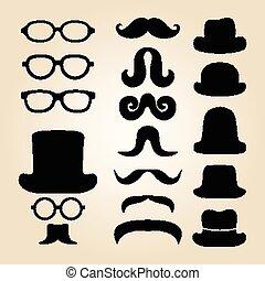 caballero, conjunto, sombrero, retro, consiste, bigote, anteojos