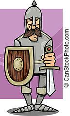 caballero, en, armadura, caricatura, ilustración