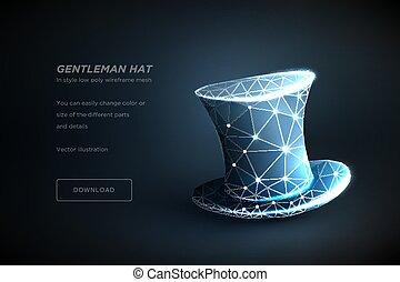 caballero, hat., polygonal, wireframe, arte, aislado, en, azul, backgraund., concepto, illusionist's, sombrero negro, o, hombres, show., polygonal, ilustración, con, conectado, puntos, y, polígono, lines., 3d, vector, wireframe