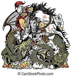 caballero, lucha, dragón
