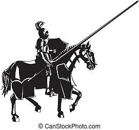 caballero, medieval, a caballo
