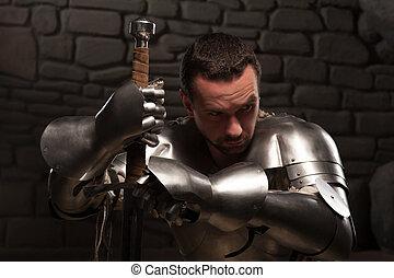 caballero, medieval, espada, arrodillar