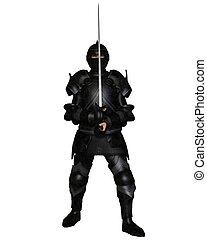 caballero negro, en, medieval, armadura