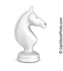 caballero, piece., blanco, ajedrez