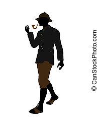 caballero, silueta, ilustración, inglés