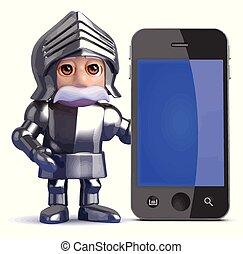 caballero, smartphone, 3d, luego