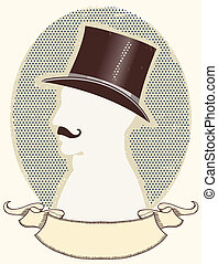 caballero, texto, negro, rúbrica, sombrero, vector, cara, cima, silueta, mustache.