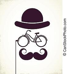 caballeros, con, bicicleta, monóculo