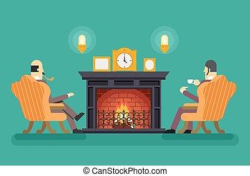 caballeros, en, chimenea, té, bebida, tarde, discutir negocio, concepto, icono, plano de fondo, plano, diseño, vector, ilustración