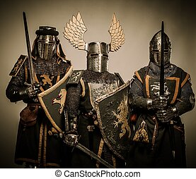 caballeros, tres, medieval