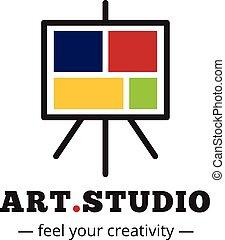 caballete, arte, logotype., vector, estudio, minimalistic,...