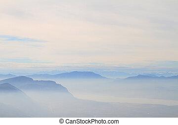 caballete, montañas, azul, vista escénica